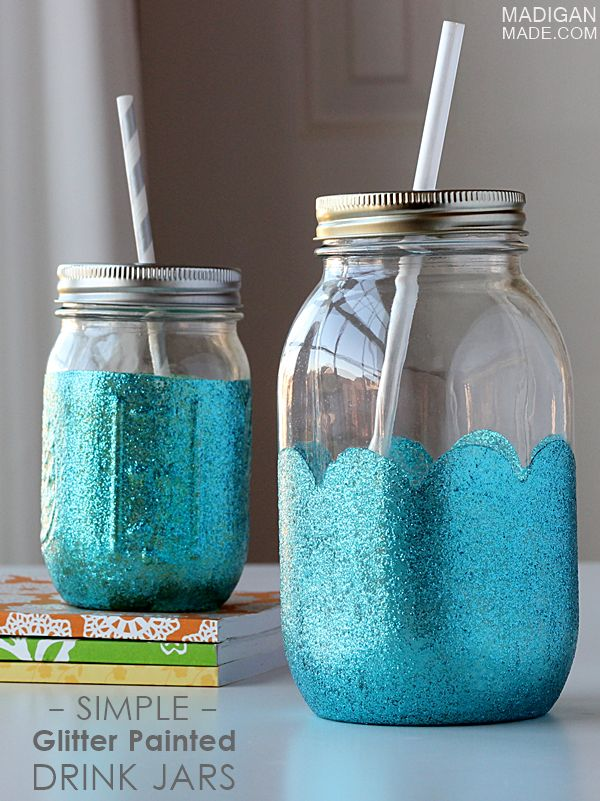 Glitter Painted Drink Jars by Madigan Made