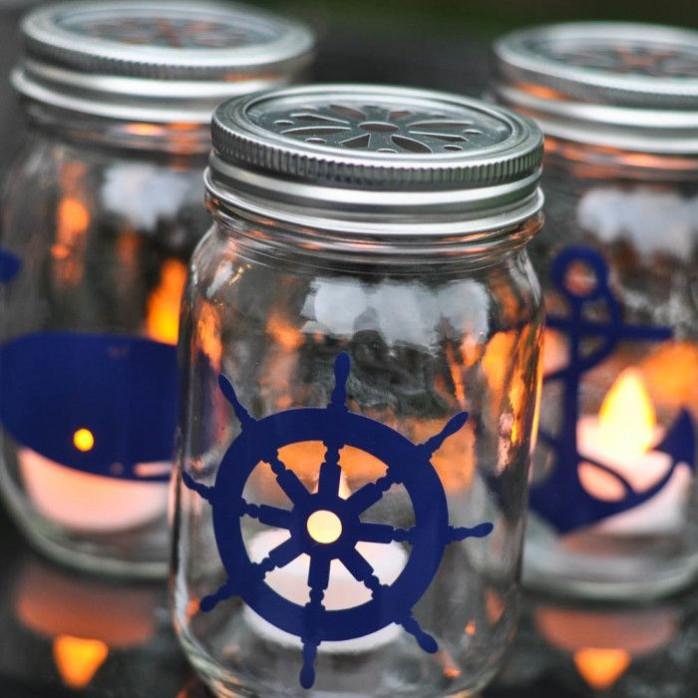 Nautical Mason Jar Lanterns by Suburble