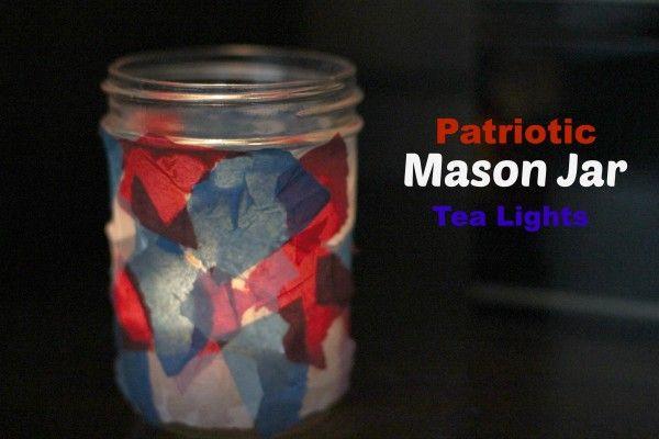 Patiotic Mason Jar Tea Lights from My Crafty Spot