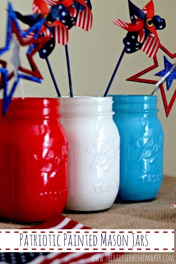 Patriotic Painted Mason Jars from The Happier Homemaker