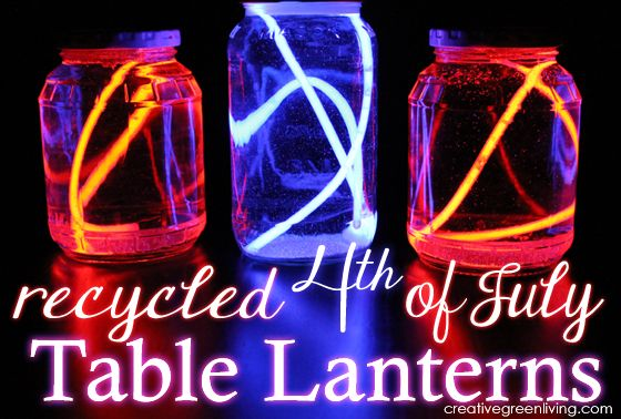 Recycled 4th of July Table Lanterns