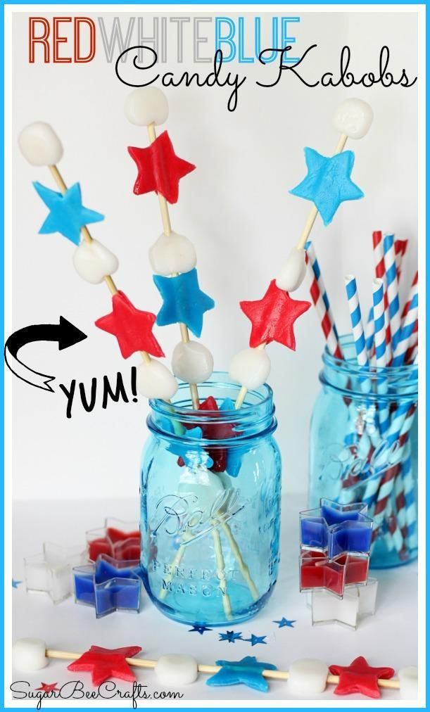 Red White Blue Candy Kabobs