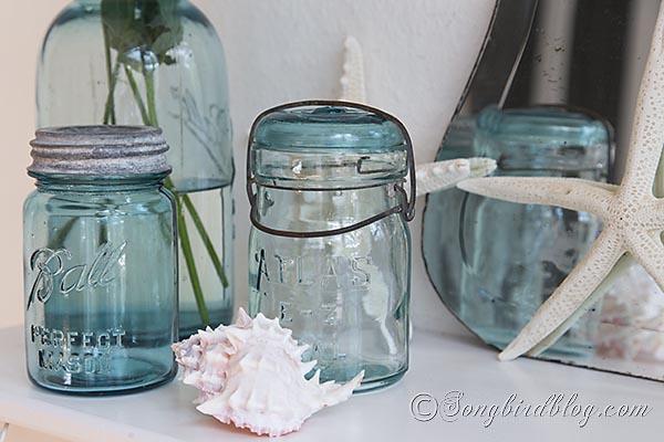 blue_mason_jars_beach_decorating by Songbird