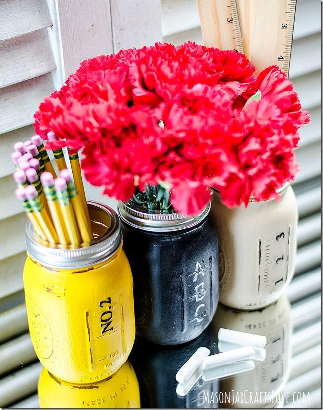 Back to School Mason Jars by Mason Jar Crafts Love