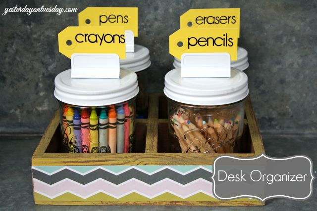 Mason Jars Desk Organizer by Yesterday on Tuesday