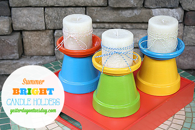 How to make cheery summer bright candle holders