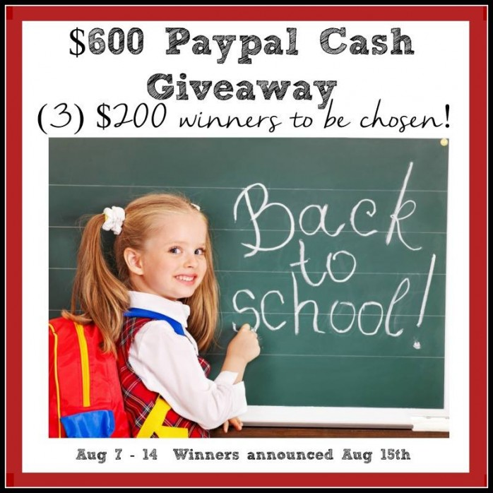 Enter to win cash in the Paypal Cash Giveaway! Three winners will receive $200 each.