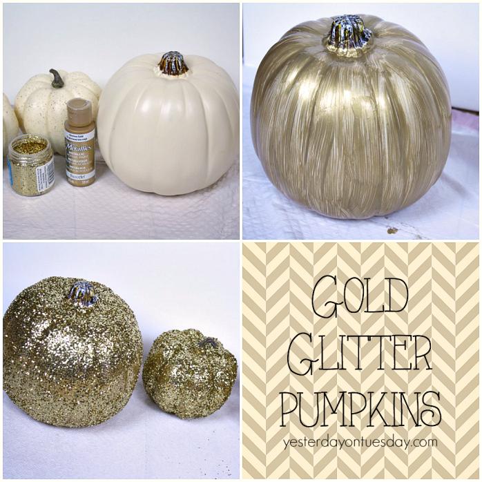 How to make Gold Glitter Pumpkins