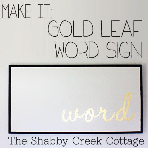Gold Leaf Word Sign