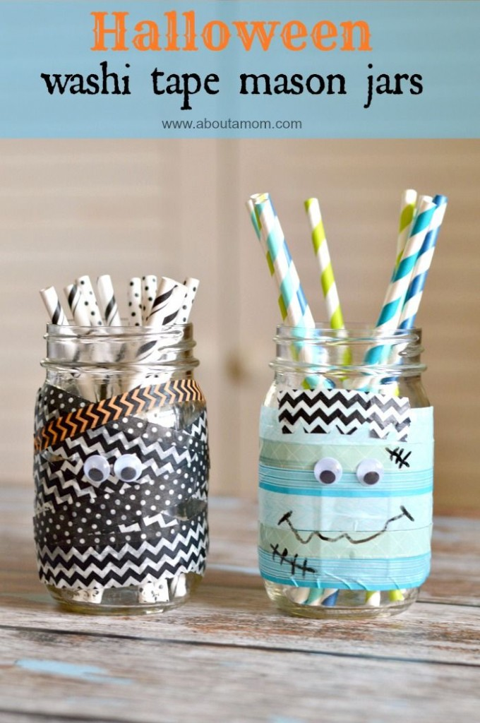 Halloween Washi Tape Mason Jars