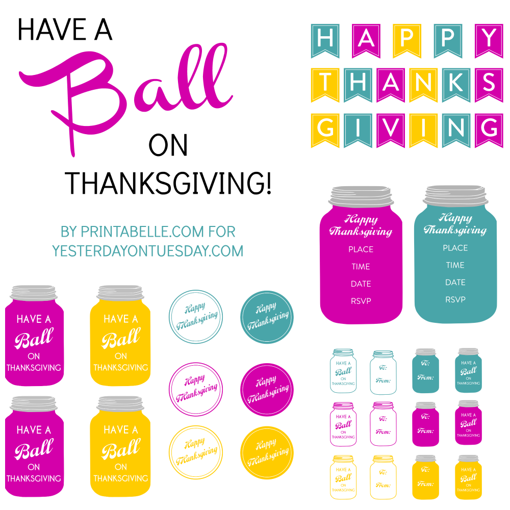 Thanksgiving Mason Jar Printables