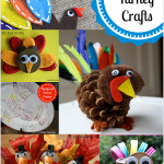 A collection of fast and festive turkey crafts, perfect for kids to create for Thanksgiving from https://yesterdayontuesday.com