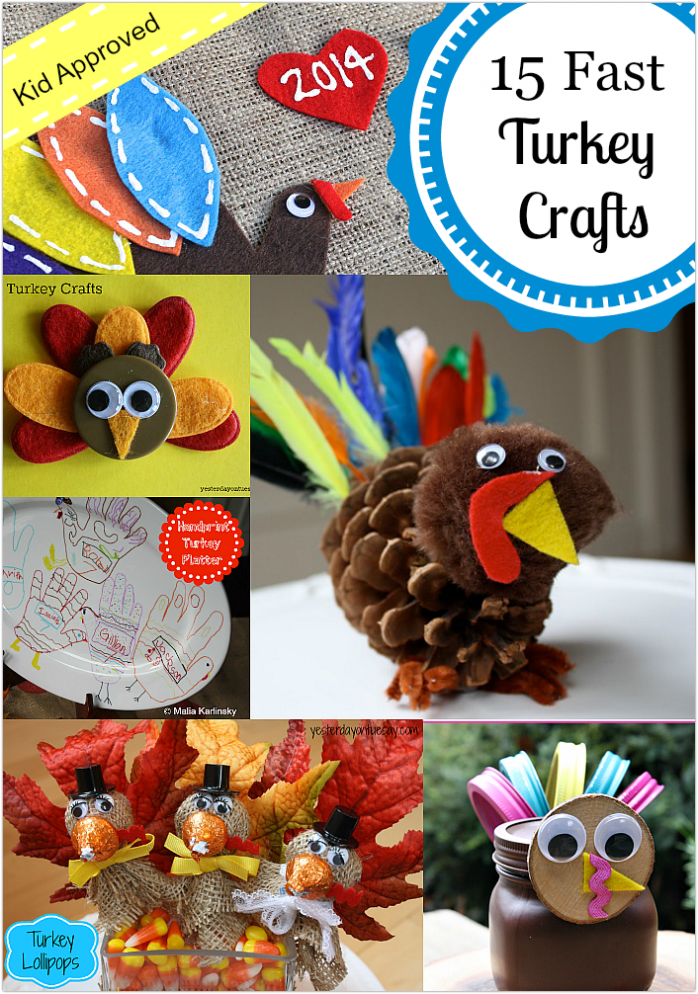A collection of fast and festive turkey crafts, perfect for kids to create for Thanksgiving from http://yesterdayontuesday.com