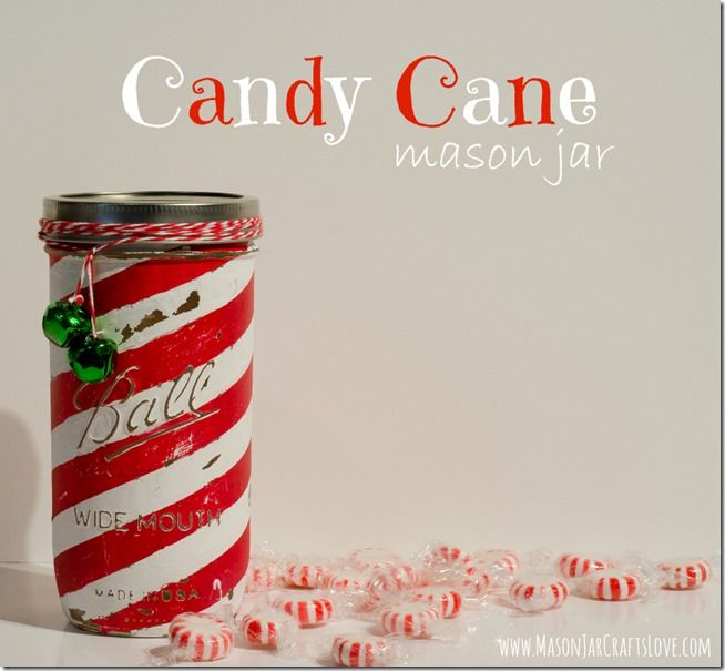 Candy Cane Mason Jar from Mason Jar Crafts Love