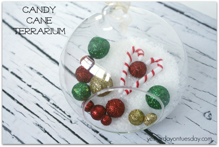Candy Cane Terrarium Christmas decor from https://yesterdayontuesday.