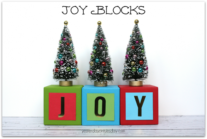 Colorful Joy Blocks Christmas Decor from https://yesterdayontuesday.com