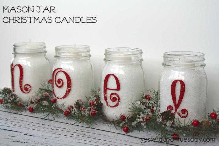 Simple Mason Jar Christmas Candles from https://yesterdayontuesday.com