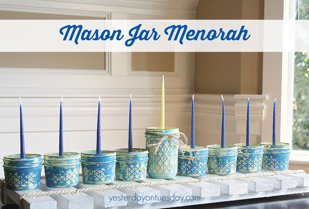 Mason Jar Menorah