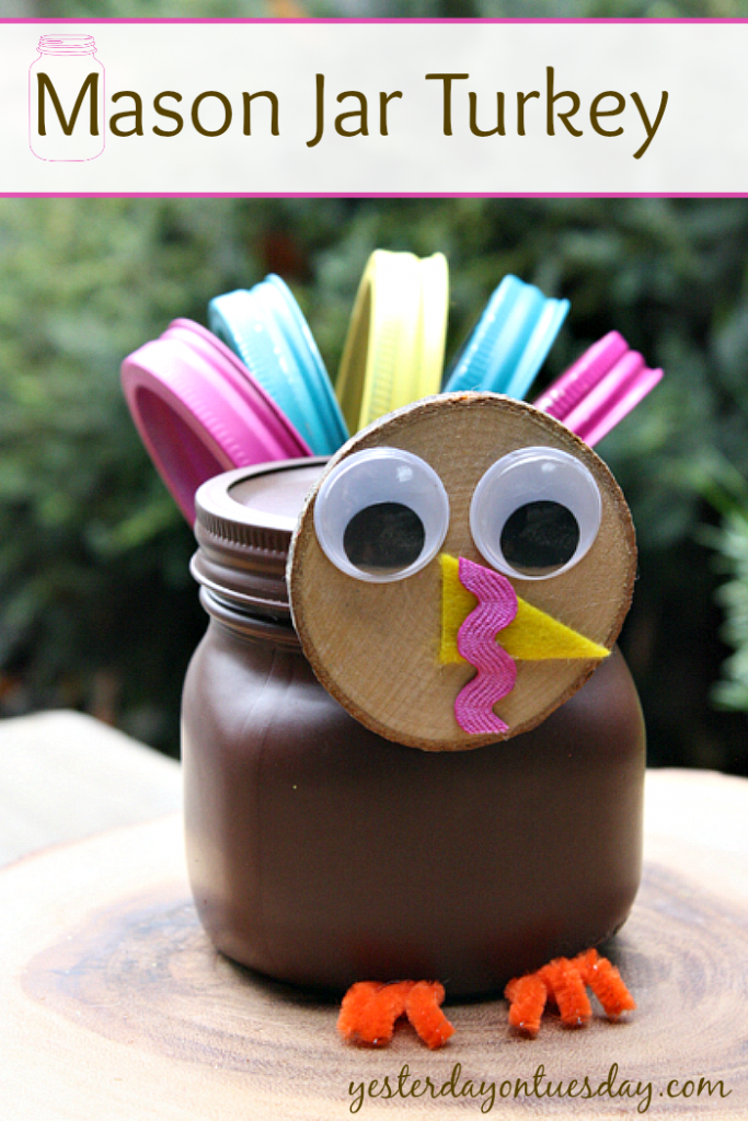 Create a darling turkey craft for Thanksgiving from a Mason Jar and canning lids