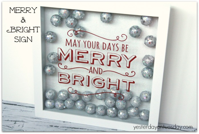 Merry and Bright Christmas decor sign from https://yesterdayontuesday.com