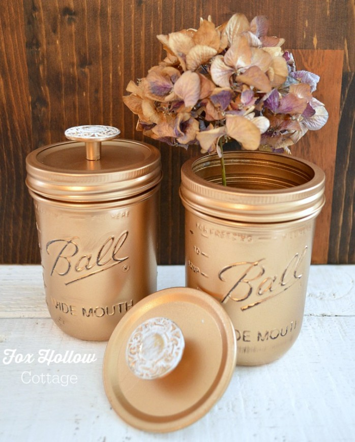 Metallic-Gold-Spray-Painted-Ball-Mason-Jars-Vintage-Hardware-Knobs-foxhollowcottage.com-