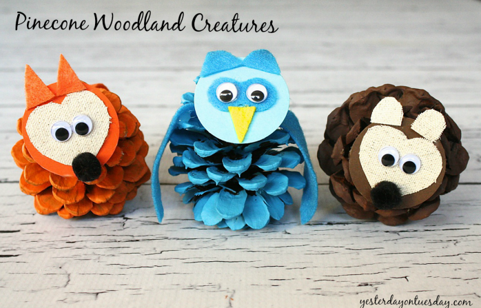 A charming fox, owl and bear created from pinecones by https://yesterdayontuesday.com