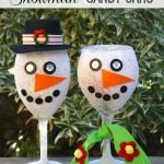 Transform a wine class into a charming Snowman Candy Jar. A quick and festive Christmas Gift from https://yesterdayontuesday.com.