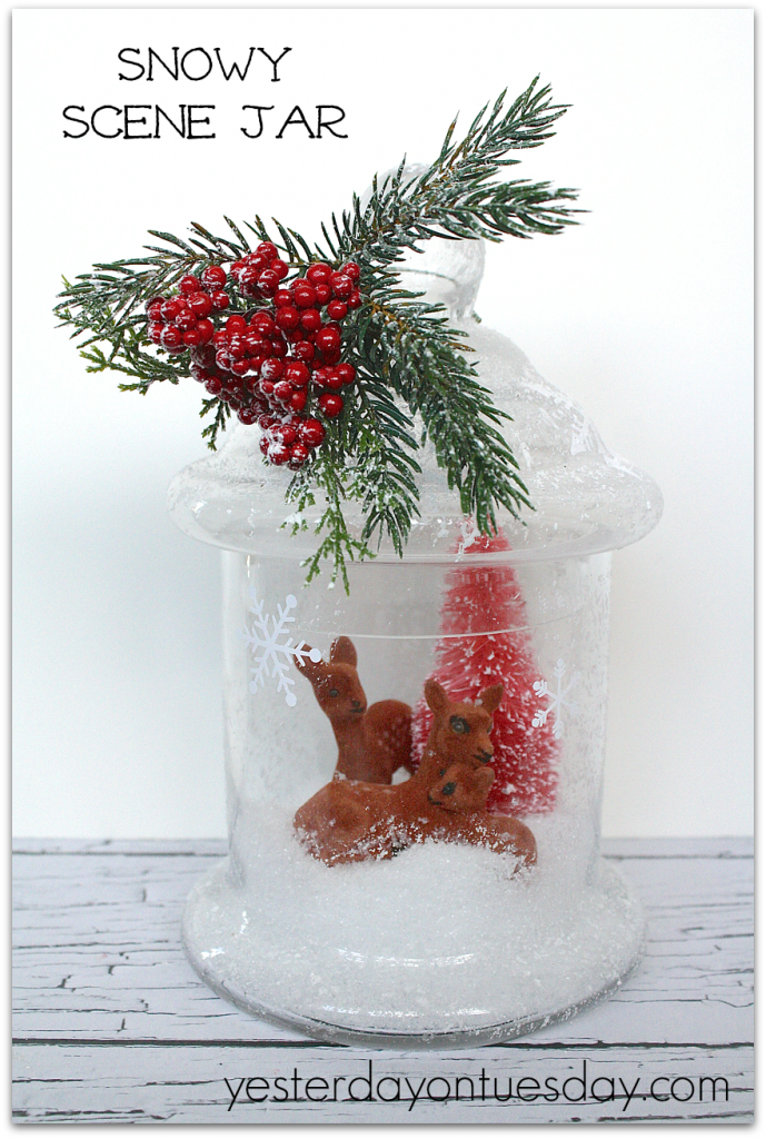 Charming Snowy Scene Jar lovely Christmas decor from http://yesterdayontuesday.com