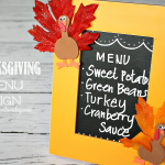 Transform a broken picture frame into a fun chalkboard Thanksgiving Menu Sign from https://yesterdayontuesday.com