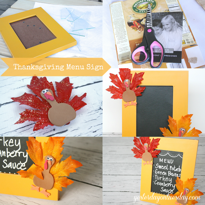 Transform a broken picture frame into a fun chalkboard Thanksgiving Menu Sign from http://yesterdayontuesday.com