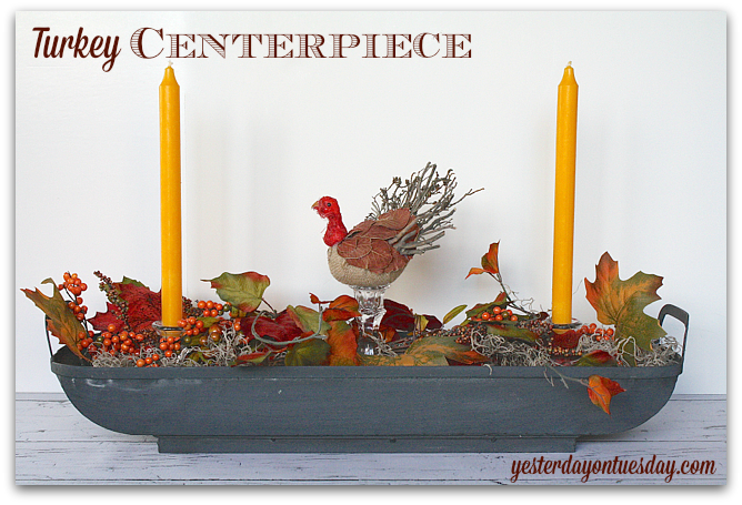 Make a festive and easy Turkey Centerpiece for Thanksgiving