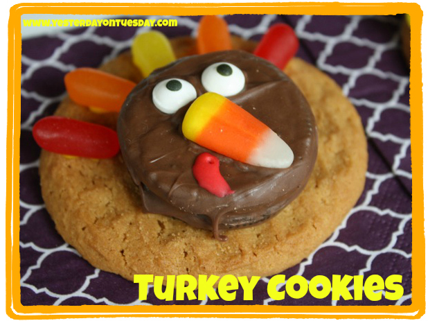 Simple turkey cookies for Thanksgiving from Yesterday on Tuesday
