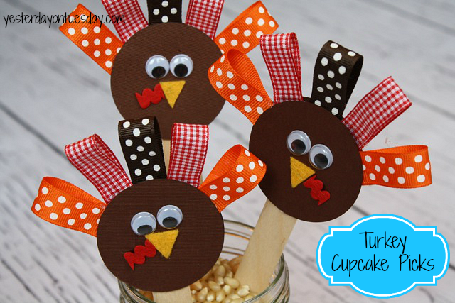 Turkey Cupcake Picks for Thanksgiving from Yesterday on Tuesday