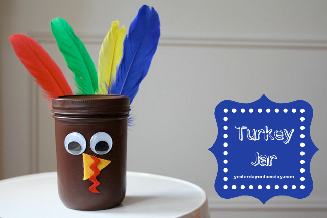 Make a turkey from a Mason Jar perfect for Thaksgiving
