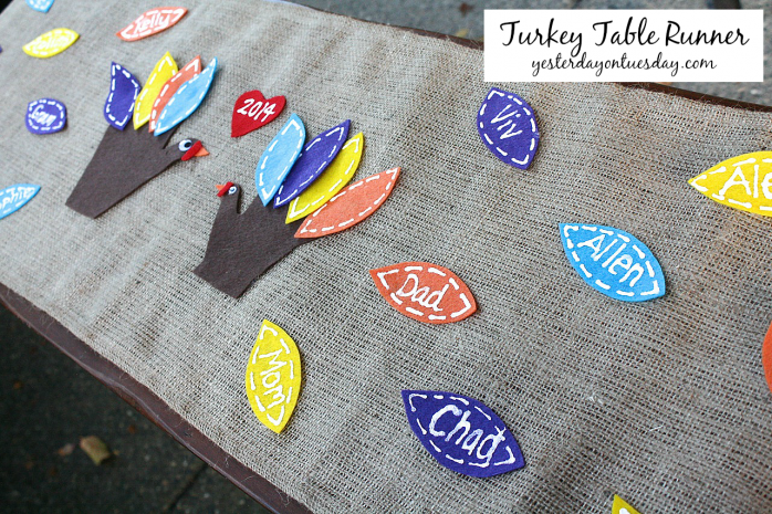 Turkey Table Runner, a great Thanksgiving Kid's craft from http://yesterdayontuesday.com