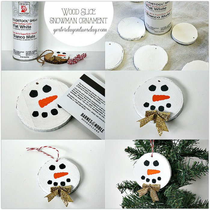 Create a cute Wood Slice Snowman Ornament for Christmas from http://yesterdayontueday.com