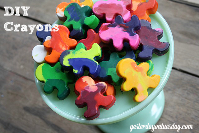 Recycle stubby crayons into cute ones, easy kid's craft from Yesterday on Tuesday