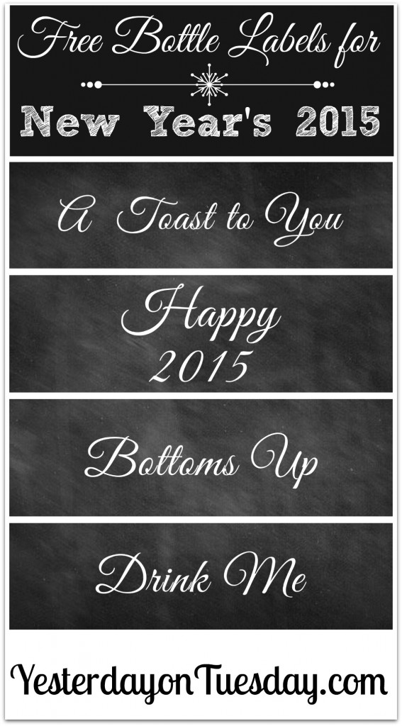 Free New Year's Eve Bottle Labels via http://yesterdayontuesday.com