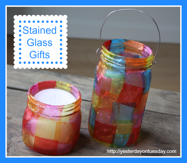 Mason Jar Stained Glass, great kid's craft from Yesterday on Tuesday