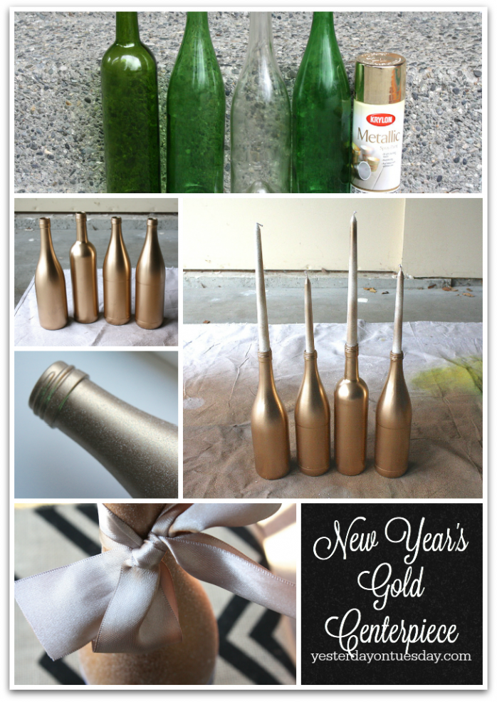 New Year's Gold Centerpiece and printable bottle labels from http://yesterdayontuesday.com