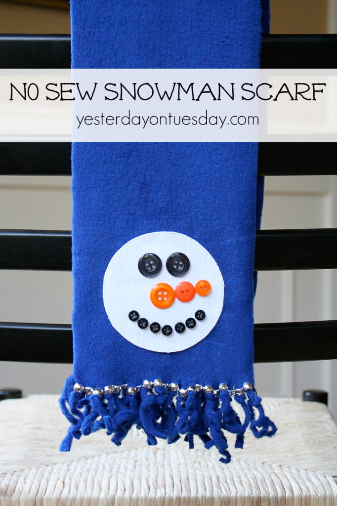 No Sew Snowman Scarf great craft for kids from http://yesterdayontuesday.com #scarf #snowman