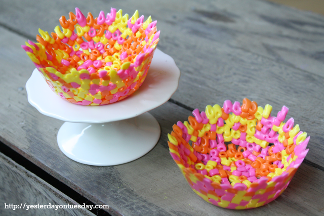 Perler Bead Bowls, fun kid's craft from Yesterday on Tuesday