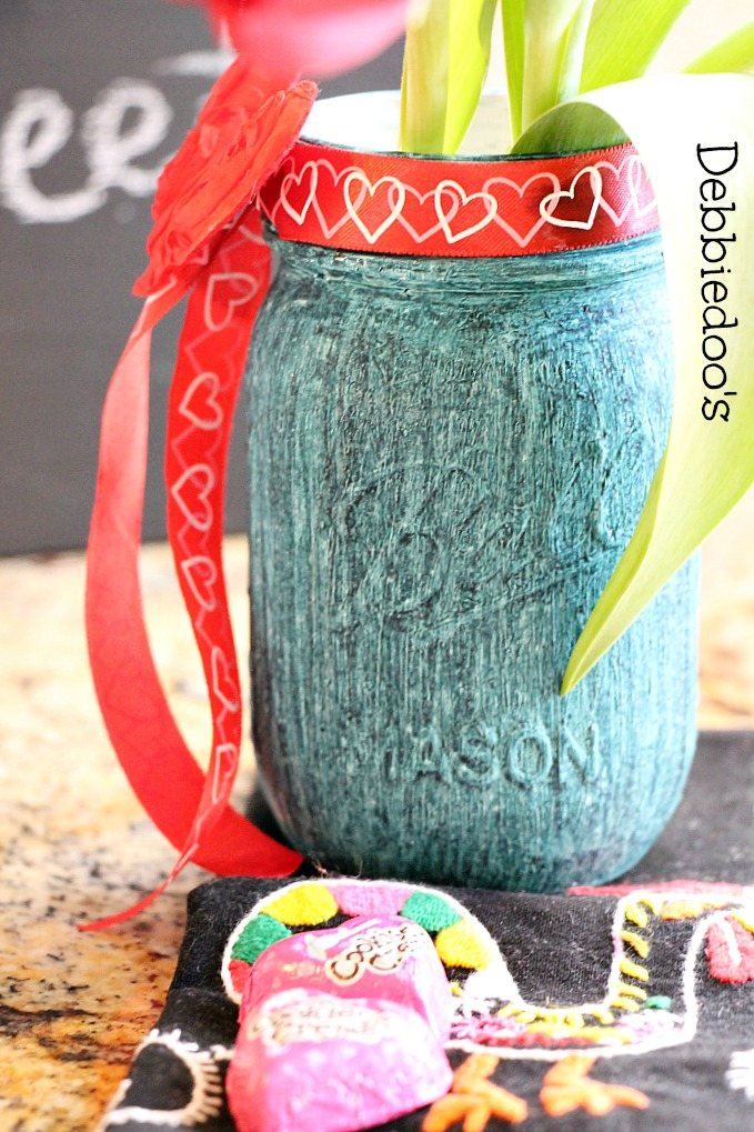 Chalk Paint and Rit-Dye Mason Jar from Debbiedo's