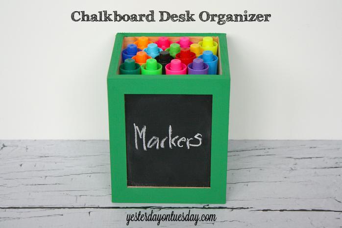 Chalkboard Desk Organizer from http://yesterdayontuesday.com #organizing