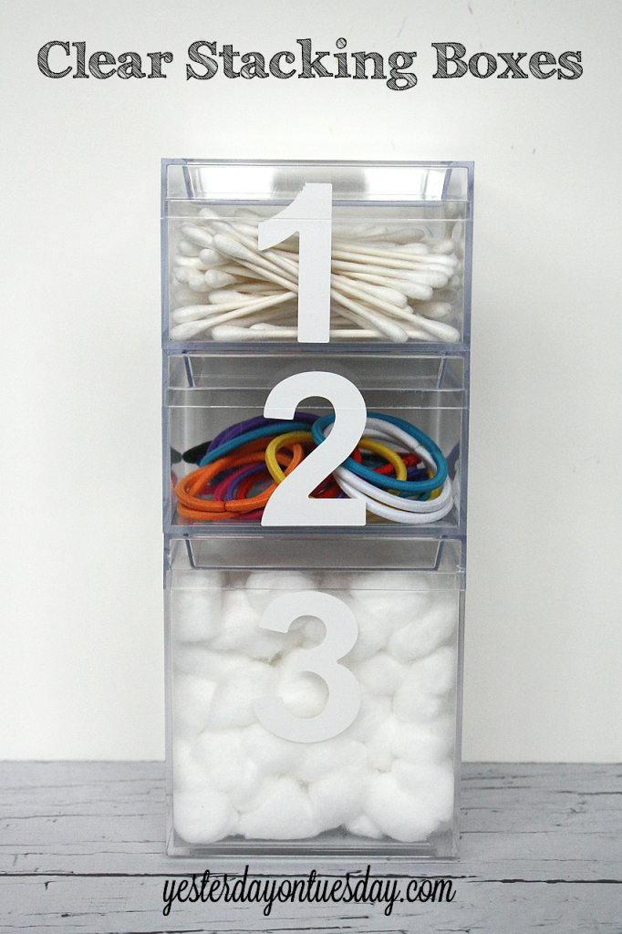Clear Stacking Boxes from http://yesterdayontuesday.com #organizing