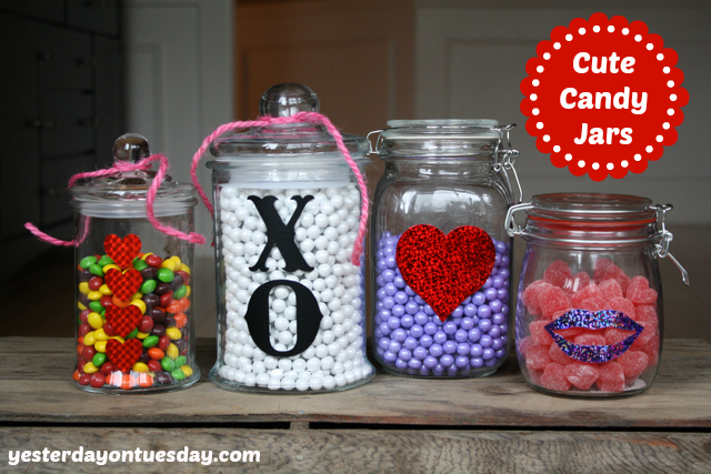 Candy Jars for Valentine's Day from http://yesterdayontuesday.com