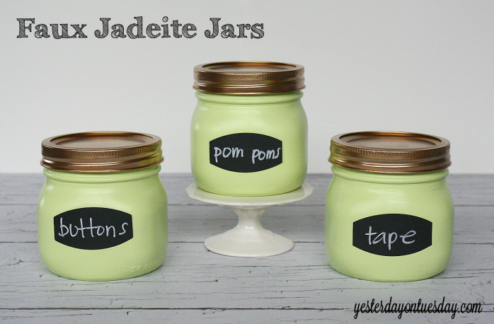 Upgrade plain Mason Jars to Faux Jadeite Jars for storage from http://yesterdayontuesday.com #masonjars #storage
