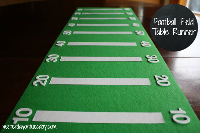 Football Field Table Runner from http://yesterdayontuesday.com #footballparty #footballcrafts