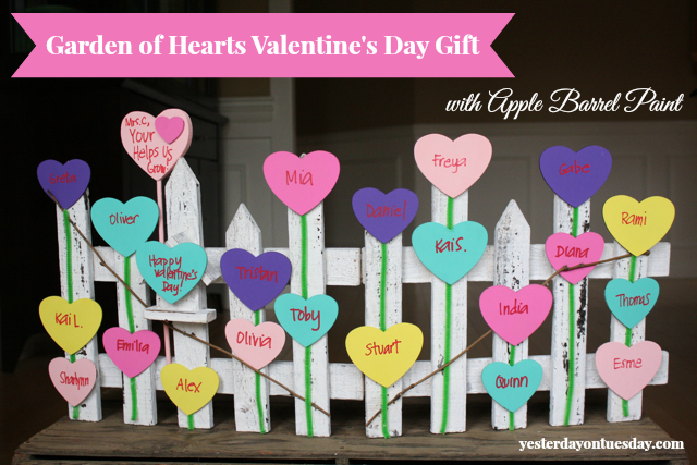Garden of Hearts Valentine's Day Gift for Teachers from http://yesterdayontuesday.com