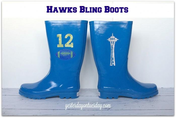 Upgrade plain rain books into Hawks Bling Boots #seahawks
